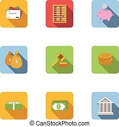 Cash icons set, flat style