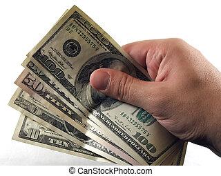 Cash in hand - Hand holding dollar bills