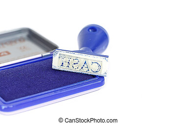 Cash letter on blue rubber stamp isolated on white background