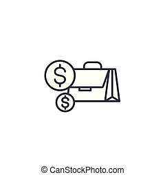 Cash linear icon concept. Cash line vector sign, symbol, illustration.