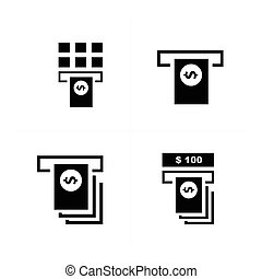cash machine and stack of dollars icons