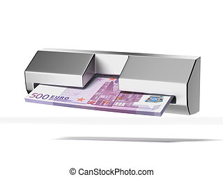 cash machine and stack of euros isolated on a white...
