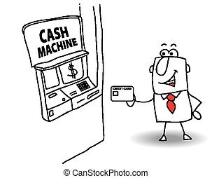 cash machine - joe withdraws money at the cash machine