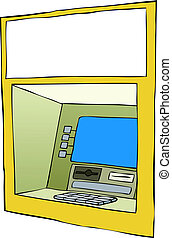 Cash machine on a white background, vector
