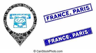 Cash Machine Pointer Mosaic and Grunge Rectangle France, Paris Stamp Seals