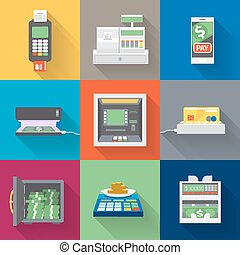 Cash machines icons set in flat style