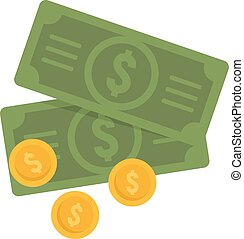 Cash money coins icon, flat style