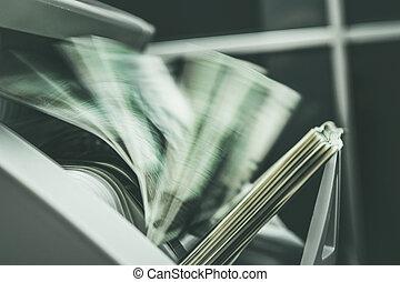 Cash Money Inside Running Banknotes Counter.