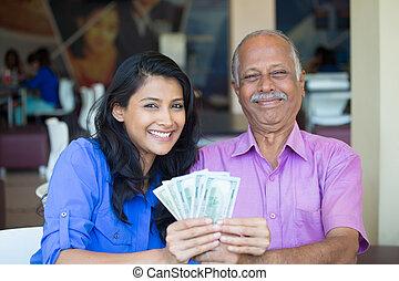 Cash money millionaires - Closeup portrait rich elderly...