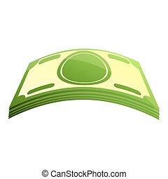 Cash money pack icon, cartoon style