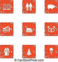 Cash nexus icons set. Grunge set of 9 cash nexus vector icons for web isolated on white background