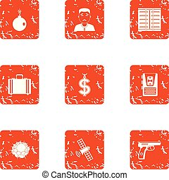 Cash office icons set, grunge style - Cash office icons set....