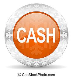 cash orange icon, christmas button