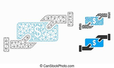 Mesh cash payment model with triangle mosaic icon. Wire frame polygonal mesh of cash payment. Vector collage of triangle parts in various sizes, and color hues. Abstract 2d mesh cash payment,