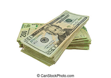 Cash - A stack of Us dollars bills and Mexian Pesos bills