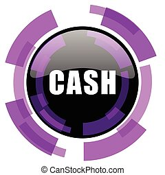 Cash pink violet modern design vector web and smartphone icon. Round button in eps 10 isolated on white background.