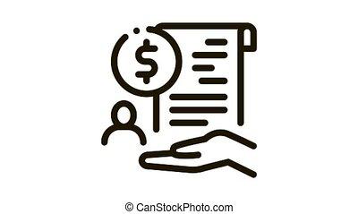 cash purchase agreement Icon Animation. black cash purchase agreement animated icon on white background