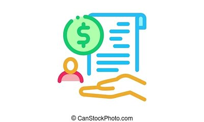 cash purchase agreement Icon Animation. color cash purchase agreement animated icon on white background