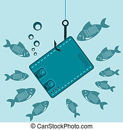 Cash purse on a fishing hook underwater with the fishes. The lure of money, a waste of money, a loss.