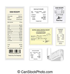 Cash receipts vector colorful poster isolated on white -...