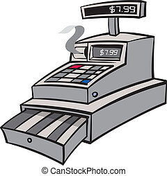A grey industrial cash register with reciept