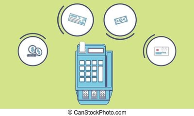 Cash register and money HD animation - Cash register with...