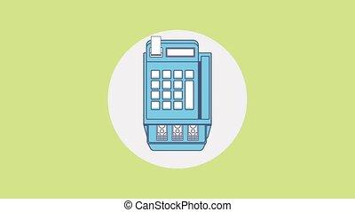 Cash register and money HD animation - Money profit sales...
