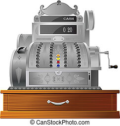 CASH REGISTER - OLD FASHIONED CASH REGISTER ISOLATED ON...