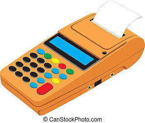 cash register - The orange cash register on white background