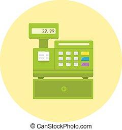 Cash register flat icon vector illustration.