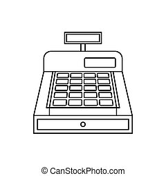 Cash register icon, outline style
