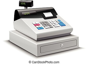 Cash Register Isolated - Realistic modern cash register with...