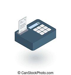 cash register isometric flat icon. 3d vector
