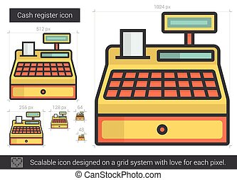 Cash register line icon.