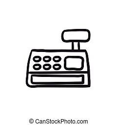 Cash register machine sketch icon.