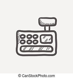Cash register machine sketch icon