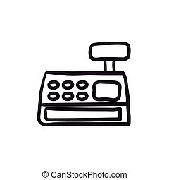 Cash register machine sketch icon.