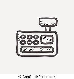 Cash register machine sketch icon