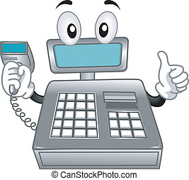 Mascot Illustration Featuring a Cash Register