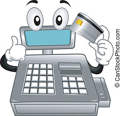 Cash Register Mascot - Mascot Illustration Featuring a Cash...