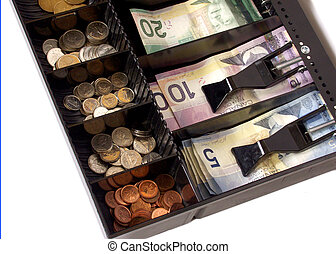 cash register with canadian money