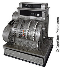 Cash register - Vintage cash register isolated with clipping...