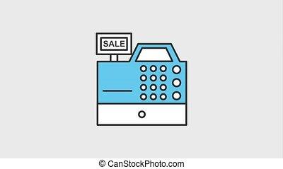 cash register sale money dollar commerce animation hd