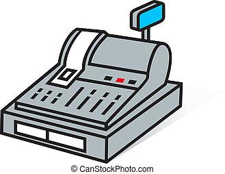 cash register sign - Retail cash register isolated on white...