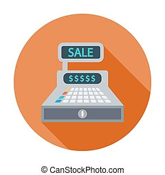Cash register. Single flat color icon. Vector illustration.