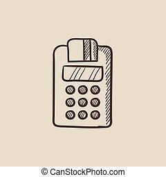 Cash register sketch icon.