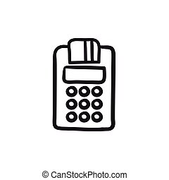 Cash register sketch icon.