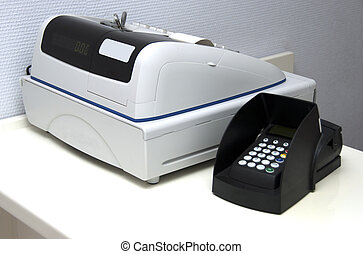 cash register on counter to pay your bills