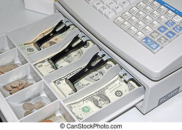 Cash Register with Money Bills and Coins