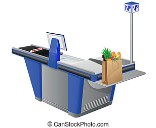 cash register terminal and shopping bag with foods vector ...